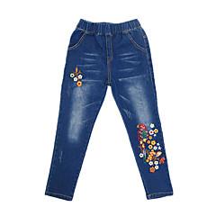 baratos Roupas de Meninas-Infantil Para Meninas Vintage / Casual Sólido / Estampado Sem Manga Algodão Jeans