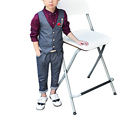 voordelige Jongenskleding-Peuter Jongens Eenvoudig Effen Moderne Style Mouwloos Polyester Kledingset Grijs