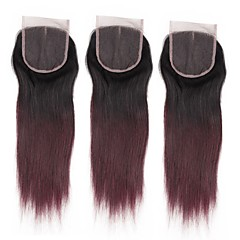 billiga Peruker och hårförlängning-ALIMICE Brasilianskt Rak 4x4 Stängning Väft Schweizisk spetsperuk Remy Fria delen Mittparti 3 Del Färgskiftande