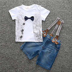 tanie Odzież dla chłopców-Brzdąc Dla chłopców Prosty / Na co dzień Sport Nadruk Krótki rękaw Bawełna Komplet odzieży