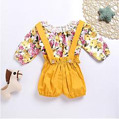 billige Sett med babyklær-Baby Pige Simple / Afslappet Blomstret Langærmet Bomuld Tøjsæt