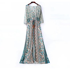 Damen Boho Chiffon Kleid - Grundlegend, Geometrisch Einfarbig Maxi V-Ausschnitt Hohe Taillenlinie