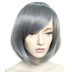 billiga Peruker och hårförlängning-Syntetiska peruker Yaki Rakt Bob-frisyr / Frisyr i lager Syntetiskt hår Naturlig hårlinje Grå Peruk Dam Korta Utan lock Grå