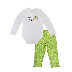 billige Sett med babyklær-Baby Pige Afslappet Ferie Blomstret Langærmet Bomuld Tøjsæt