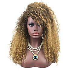 tanie Peruki syntetyczne-Peruki syntetyczne Jerry Curl Kinky Curly Z grzywką Gęstość Bez czepka Brązowy Czarny Halloween Wig Celebrity Wig Peruka imprezowa Peruka