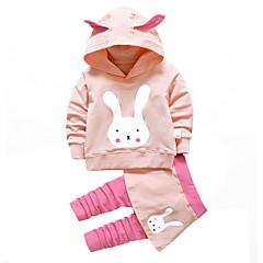 billige Tøjsæt til piger-Baby Pige Simple Daglig / Ferie Dyr Langærmet Bomuld Tøjsæt Lyserød 100