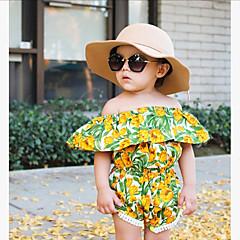 billige Pigetoppe-Baby Pige Boheme Ferie / I-byen-tøj Blomstret / Jacquard Vævning Kvast Kortærmet Normal Rayon Bluse Grøn / Sødt