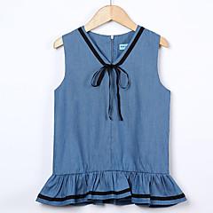 baratos Roupas de Meninas-Menina de Vestido Diário Para Noite Sólido Estampado Primavera Verão Algodão Acrílico Poliéster Sem Manga Vintage Activo Azul