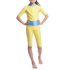 baratos Roupas de Meninas-Para Meninas Boho Estampa Colorida Roupa de Banho, Poliéster Fibra Sintética Elastano Meia Manga Dourado Rosa