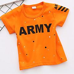 billige Overdele til drenge-Baby Drenge Aktiv Daglig / Sport Geometrisk Trykt mønster Kortærmet Normal Bomuld T-shirt Hvid 100