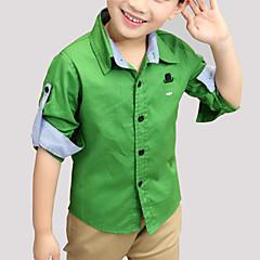 baratos Roupas de Meninos-Infantil / Bébé Para Meninos Casual Sólido Bordado Manga Longa Algodão Camisa