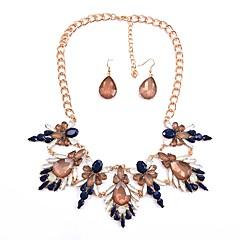 baratos Conjuntos de Bijuteria-Mulheres Sapphire sintético Conjunto de jóias - Importante, Clássico, Fashion Incluir Brincos Compridos Colarinho Azul Escuro / Vermelho Para Festa Festa de Noite