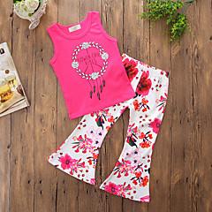 billige Tøjsæt til piger-Baby Pige Simple / Afslappet Daglig / I-byen-tøj Blomstret Stilfuldt / Blomster / Tynd Uden ærmer Normal Normal Bomuld / Polyester Tøjsæt Rosa / Trykt mønster