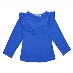 billige Pigetoppe-Baby Pige Aktiv Daglig / Ferie Ensfarvet Drapering Langærmet Normal Bomuld T-shirt Blå