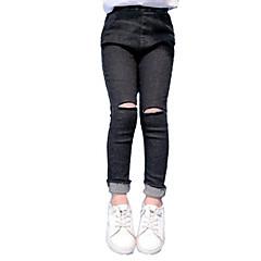 billige Bukser og leggings til piger-Børn Pige Vintage / Afslappet Daglig Ensfarvet Uden ærmer Bomuld / Polyester Jeans Sort 140