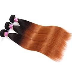 billige Remy fletninger af menneskehår-Jomfruhår Remy hår Hår vævning Til sorte kvinder Afro-amerikansk paryk Lige Brasiliansk hår bundter 0.3kg 12 måneder Hverdag