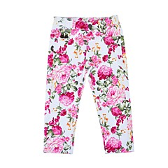 billige Bukser og leggings til piger-Pige Bukser Daglig Ferie Blomstret, Bomuld Polyester Forår Efterår Langærmet Sødt Rosa