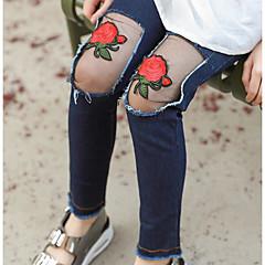 billige Bukser og leggings til piger-Pige Ensfarvet Udhulet Bomuld Bukser