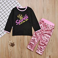 billige Tøjsæt til piger-Baby Pige Aktiv Daglig Ensfarvet Pailletter Langærmet Normal Bomuld / Polyester Tøjsæt Lyserød / Sødt