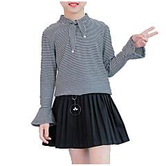 baratos Roupas de Meninas-Para Meninas Diário Sólido Listrado Camisa, Algodão Poliéster Primavera Outono Manga Longa Simples Casual Branco Preto Azul Marinha