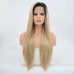 ieftine Peruci Dantelă Sintetice-Lănțișoare frontale din sintetice Drept Păr Sintetic Blond Perucă Pentru femei Lung Față din Dantelă