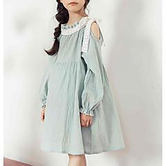 baratos Roupas de Meninas-Infantil Para Meninas Simples / Vintage Sólido Manga Longa Vestido