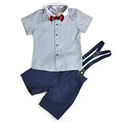 billige Tøjsæt til drenge-Drenge Simple / Afslappet Daglig / I-byen-tøj Ensfarvet Formel Stil / Klassisk / Retro Kortærmet Normal Normal Bomuld / Akryl / Polyester Tøjsæt Lyseblå 100
