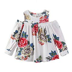 billige Pigetoppe-Baby Pige Afslappet I-byen-tøj Blomstret Trykt mønster Langærmet Bomuld T-shirt
