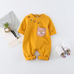 billige Babytøj-Baby Pige Simple / Aktiv Trykt mønster / Regnbue Halvlange ærmer Bomuld Overall og jumpsuit