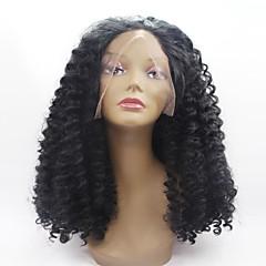 billiga Peruker och hårförlängning-Syntetiska snörning framifrån Jerry Lockigt Syntetiskt hår Afro-amerikansk peruk Svart Peruk Dam Mellanlängd Naturlig peruk Hel-spets /