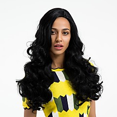 cheap Synthetic Lace Wigs-Synthetic Wig Women's Wavy Black Side Part Synthetic Hair Natural Hairline Black Wig Long Capless Dark Black MAYSU / Yes