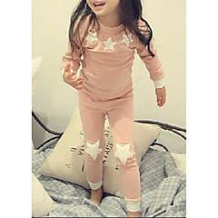 Χαμηλού Κόστους Εσώρουχα και κάλτσες για κορίτσια-Κοριτσίστικα Ρουχισμός Ύπνου Πολυεστέρας Ουρανός Μακρυμάνικο Κινούμενα σχέδια Πράσινο του τριφυλλιού Ανθισμένο Ροζ
