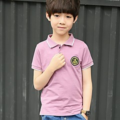 baratos Roupas de Meninos-Para Meninos Diário Para Noite Sólido Camiseta, Poliéster Verão Manga Curta Activo Verde Lavanda
