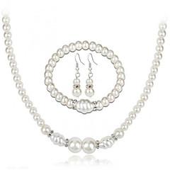 tanie Zestawy biżuterii-Damskie Rhinestone Imitacja pereł Biżuteria Ustaw Zawierać 1 Naszyjnik 1 Bransoletka Náušnice - Elegancki Modny Europejski Circle Shape