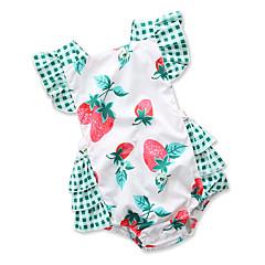 billige Babytøj-Baby Pige Aktiv Ferie Trykt mønster / Patchwork Åben ryg Uden ærmer Bomuld En del / Sødt