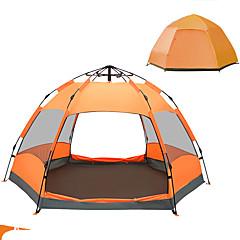 billige Telt og ly-TANXIANZHE® 5-7 personer Telt Dobbelt camping Tent Utendørs Automatisk Telt Fukt-sikker Vanntett Regn-sikker Pusteevne til Vandring