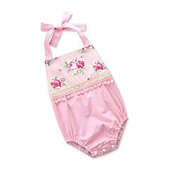 billige Babytøj-Baby Pige Aktiv I-byen-tøj Blomstret / Trykt mønster Åben ryg / Kvast Uden ærmer Bomuld Bodysuit / Sødt