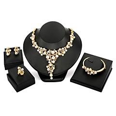 tanie Zestawy biżuterii-Damskie Imitacja pereł Cyrkon Pozłacane Biżuteria Ustaw Zawierać 1 Naszyjnik 1 Bransoletka 1 Ring Náušnice - Kwiatowy Duże Geometric