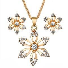 baratos Conjuntos de Bijuteria-Mulheres Diamante sintético Conjunto de jóias - Imitações de Diamante Flor Doce Incluir Dourado Para Diário Festival / Brincos