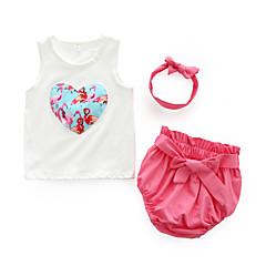 billige Sett med babyklær-Baby Pige Blomstret Uden ærmer Bomuld Tøjsæt / Sødt