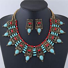 tanie Zestawy biżuterii-Damskie Biżuteria Ustaw 1 Naszyjnik Náušnice - Vintage Duże Europejski Kropla Black Czerwony Green Niebieski Turquoise Zestawy biżuterii