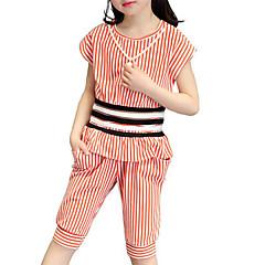 billige Tøjsæt til piger-Børn Pige Stribet Ferie / Strand Stribet Trykt mønster Kortærmet Bomuld Tøjsæt