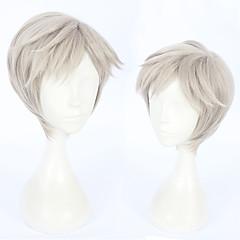 billiga Peruker och hårförlängning-Syntetiska peruker Rak Frisyr i lager Syntetiskt hår Flätad peruk Grå Peruk Herr Korta Utan lock