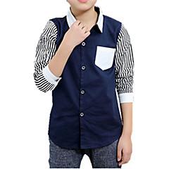 baratos Roupas de Meninos-Para Meninos Camisa Riscas Bordado Outono Todas as Estações Algodão Manga Longa Floral Branco Preto Azul Marinha