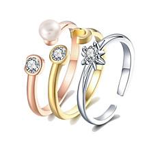 Χαμηλού Κόστους Ring Set-Γυναικεία Σετ δαχτυλιδιών Δέσε Ring Μαργαριταρένια 3pcs Ουράνιο Τόξο S925 Sterling Silver 18Κ Επίχρυσο Circle Shape Ευρωπαϊκό Δώρο
