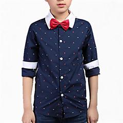 billige Gutteklær-Barn Gutt Sløyfe Trykt mønster Langermet Bomull Skjorte
