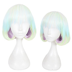 cheap Wigs & Hair Pieces-Synthetic Wig Women's Straight Green Layered Haircut Synthetic Hair Natural Hairline Green Wig Short Capless Rainbow