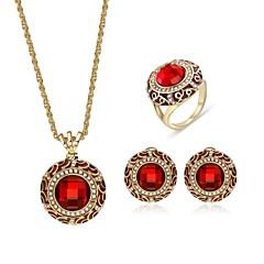 tanie Zestawy biżuterii-Damskie Cyrkon Pozłacane Biżuteria Ustaw 1 Naszyjnik 1 Ring Náušnice - Vintage Modny Circle Shape Geometric Shape Czerwony Zestawy