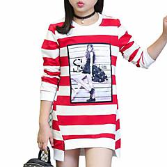お買い得  女児 トップス-女の子 日常 ストライプ コットン Tシャツ 春 秋 長袖 ストライプ ブラック パープル レッド