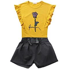 billige Tøjsæt til piger-Børn Pige Daglig Trykt mønster Pailletter / Broderi Kortærmet Normal Normal Polyester Tøjsæt Hvid / Sødt